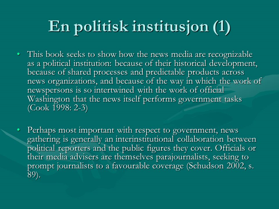 En politisk institusjon (1)