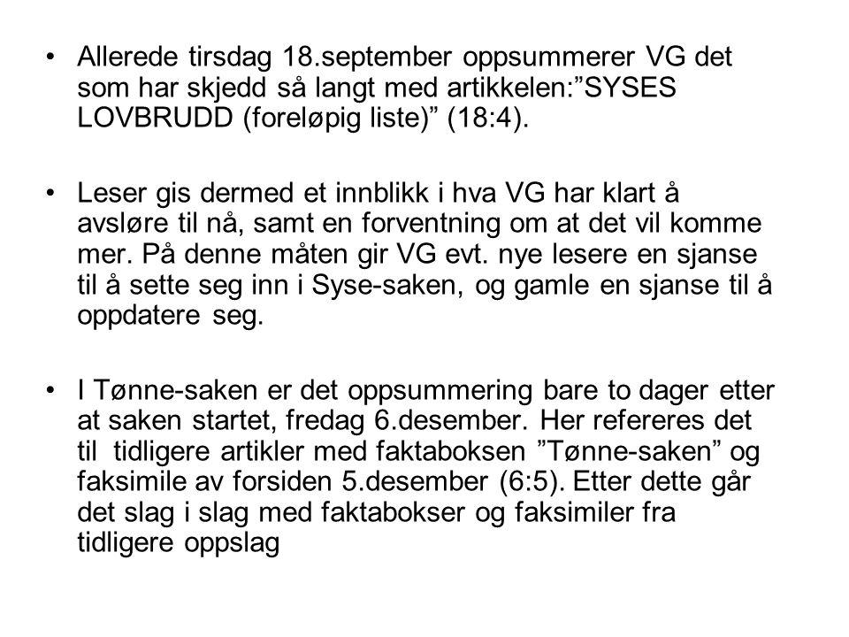 Allerede tirsdag 18.september oppsummerer VG det som har skjedd så langt med artikkelen: SYSES LOVBRUDD (foreløpig liste) (18:4).