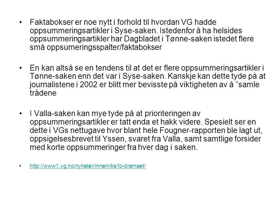 Faktabokser er noe nytt i forhold til hvordan VG hadde oppsummeringsartikler i Syse-saken. Istedenfor å ha helsides oppsummeringsartikler har Dagbladet i Tønne-saken istedet flere små oppsumeringsspalter/faktabokser