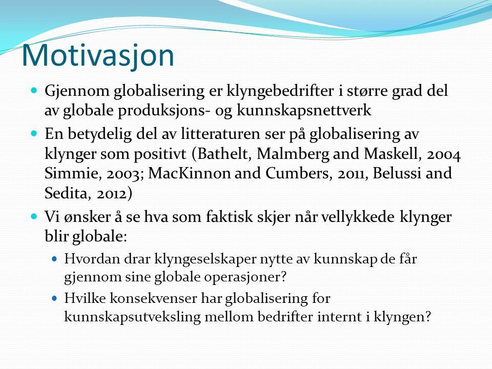Motivasjon Gjennom globalisering er klyngebedrifter i større grad del av globale produksjons- og kunnskapsnettverk.