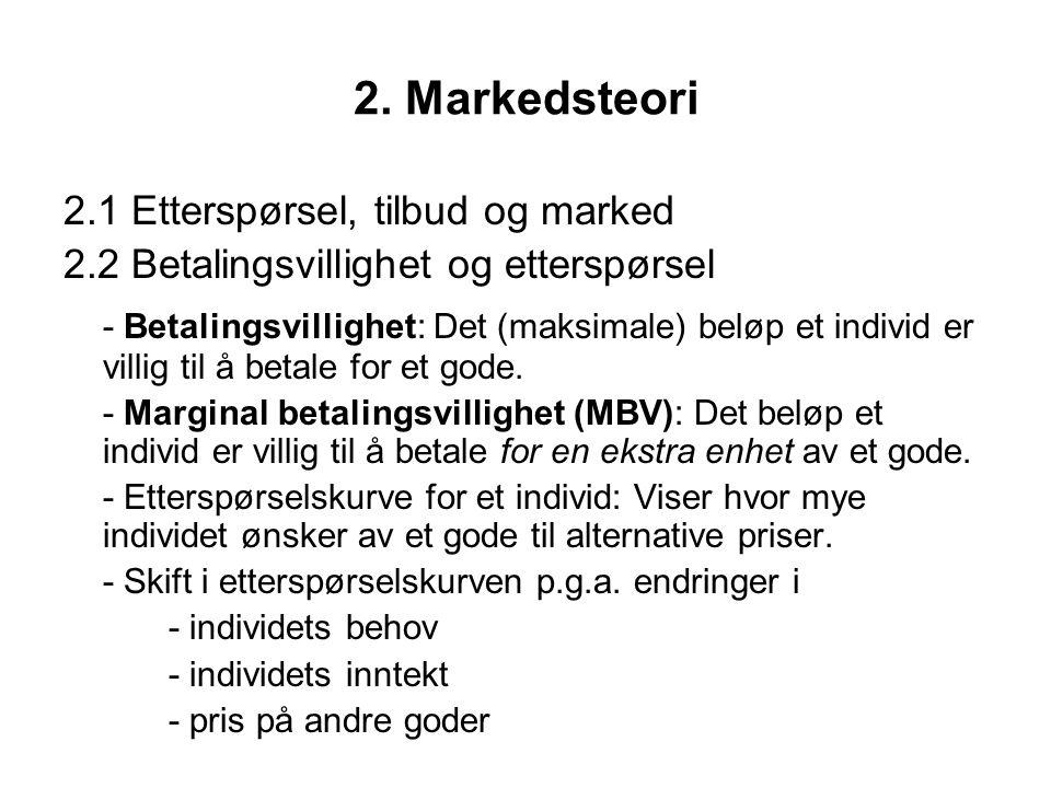 2. Markedsteori 2.1 Etterspørsel, tilbud og marked. 2.2 Betalingsvillighet og etterspørsel.