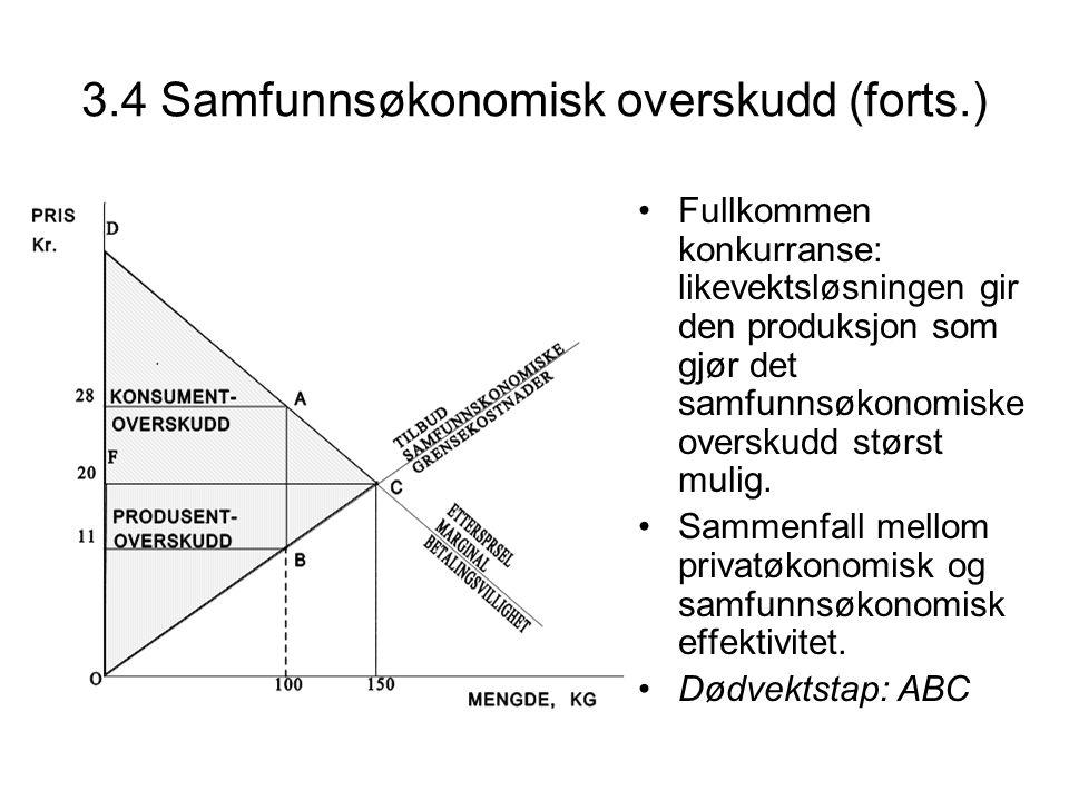 3.4 Samfunnsøkonomisk overskudd (forts.)