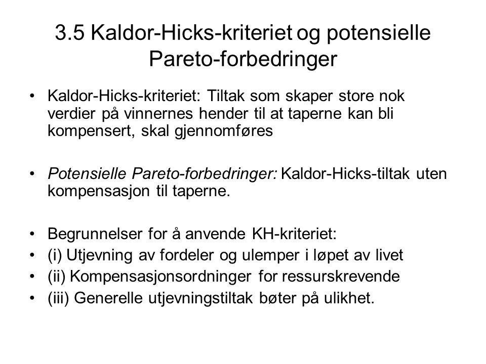 3.5 Kaldor-Hicks-kriteriet og potensielle Pareto-forbedringer