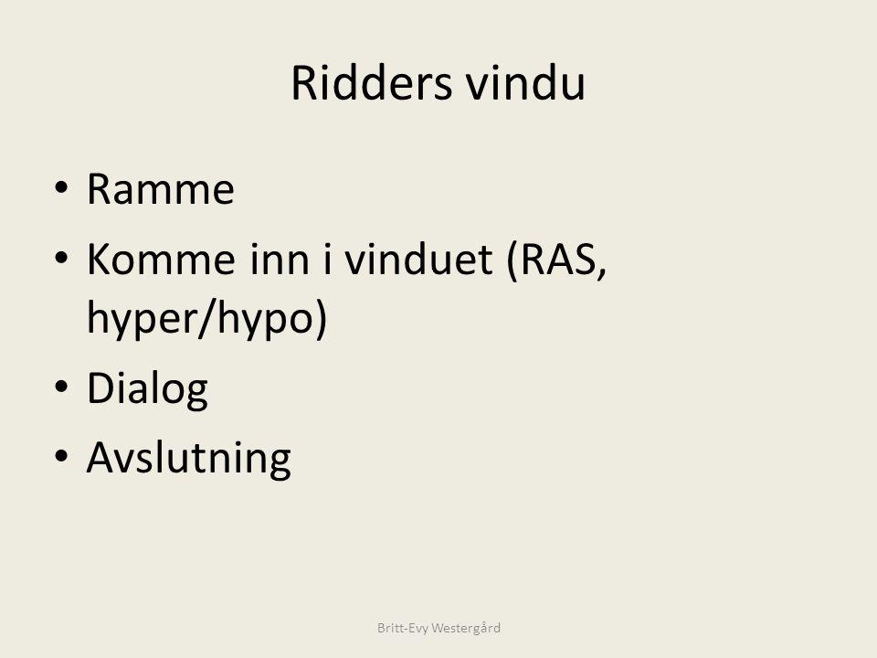 Ridders vindu Ramme Komme inn i vinduet (RAS, hyper/hypo) Dialog