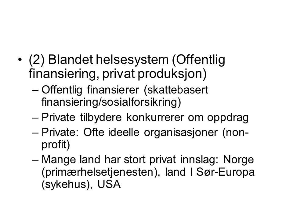 (2) Blandet helsesystem (Offentlig finansiering, privat produksjon)
