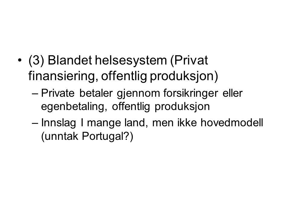 (3) Blandet helsesystem (Privat finansiering, offentlig produksjon)