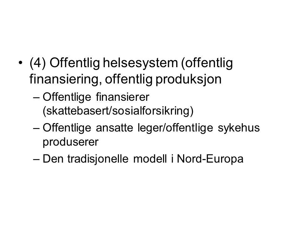 (4) Offentlig helsesystem (offentlig finansiering, offentlig produksjon