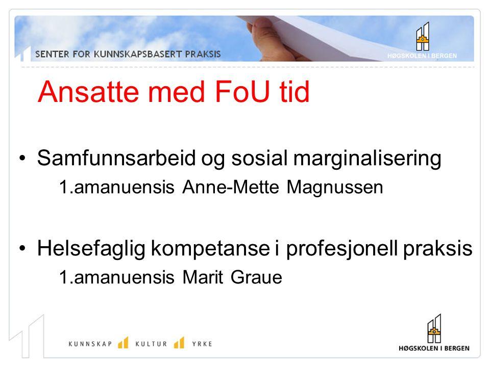 Ansatte med FoU tid Samfunnsarbeid og sosial marginalisering