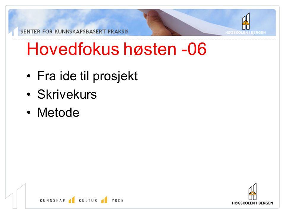 Hovedfokus høsten -06 Fra ide til prosjekt Skrivekurs Metode
