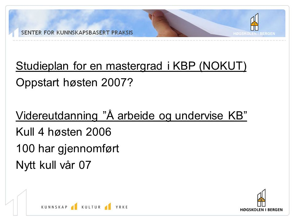 Studieplan for en mastergrad i KBP (NOKUT)