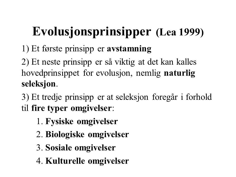 Evolusjonsprinsipper (Lea 1999)