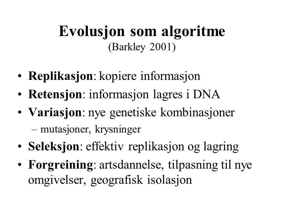 Evolusjon som algoritme (Barkley 2001)