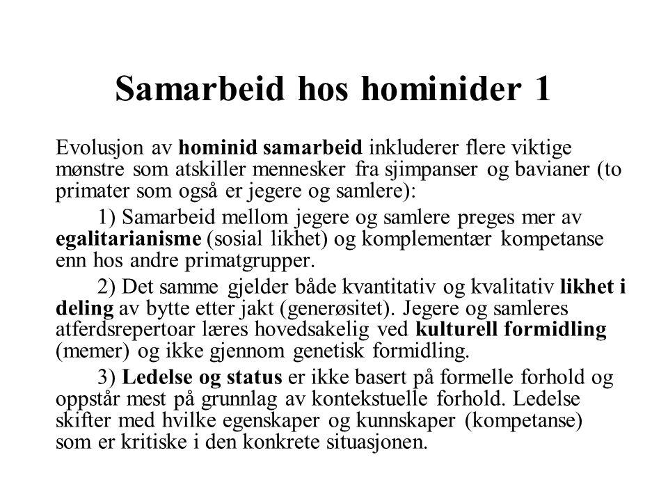 Samarbeid hos hominider 1