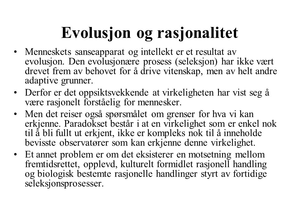 Evolusjon og rasjonalitet