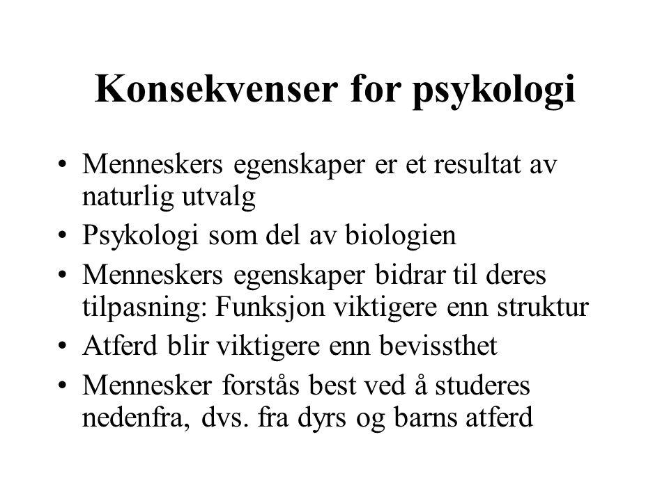 Konsekvenser for psykologi