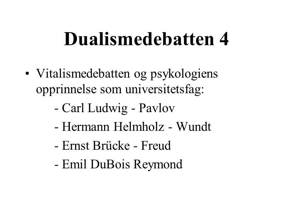 Dualismedebatten 4 Vitalismedebatten og psykologiens opprinnelse som universitetsfag: - Carl Ludwig - Pavlov.