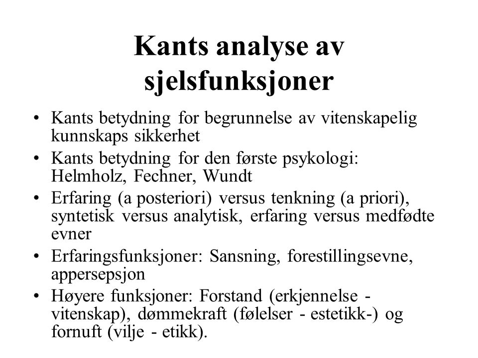 Kants analyse av sjelsfunksjoner