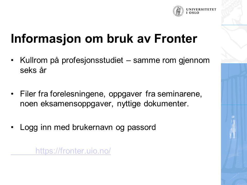 Informasjon om bruk av Fronter