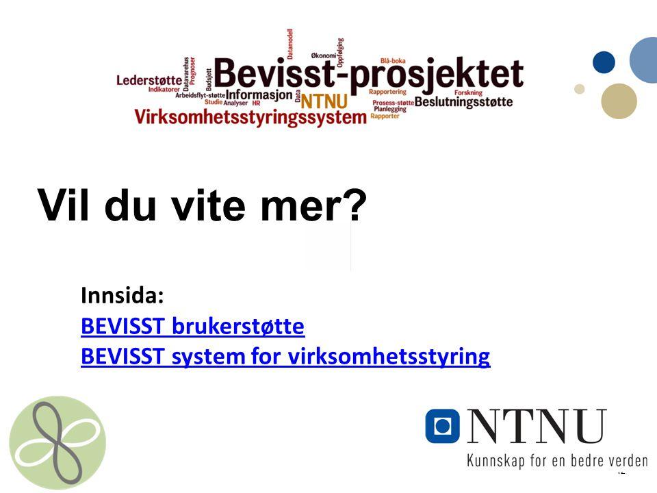 Vil du vite mer Innsida: BEVISST brukerstøtte BEVISST system for virksomhetsstyring
