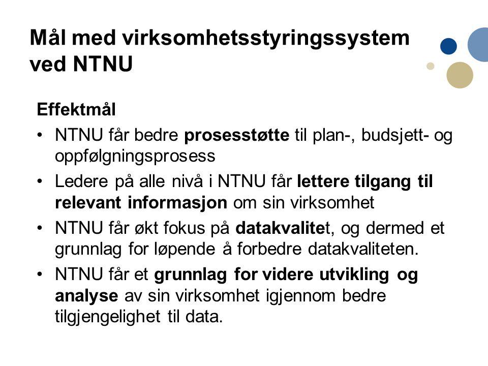 Mål med virksomhetsstyringssystem ved NTNU