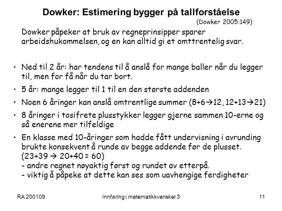 Dowker: Estimering bygger på tallforståelse