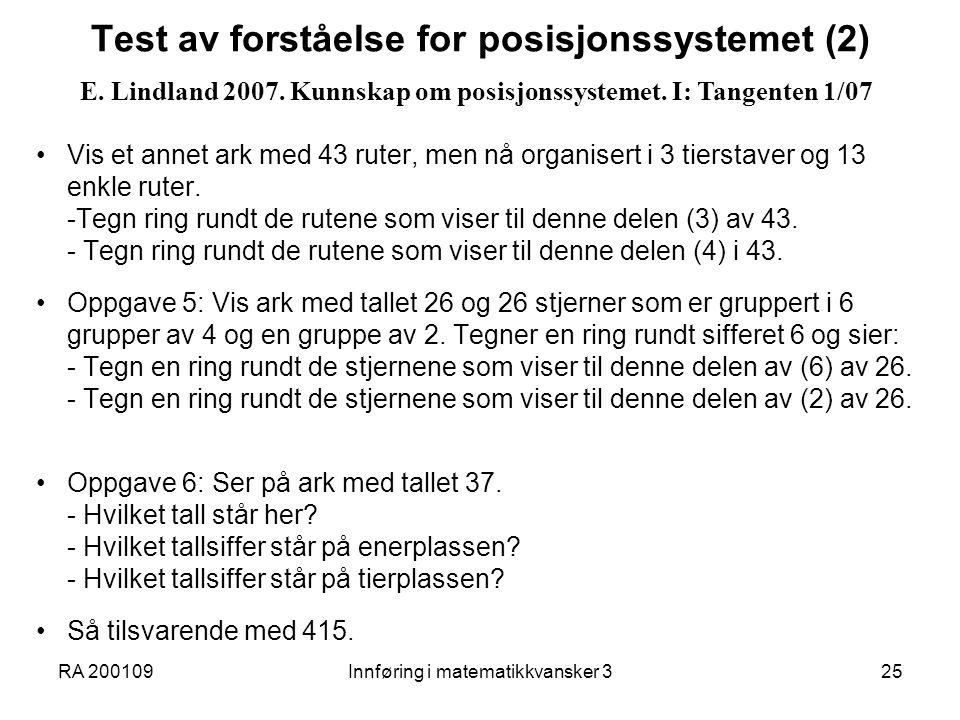 Test av forståelse for posisjonssystemet (2)