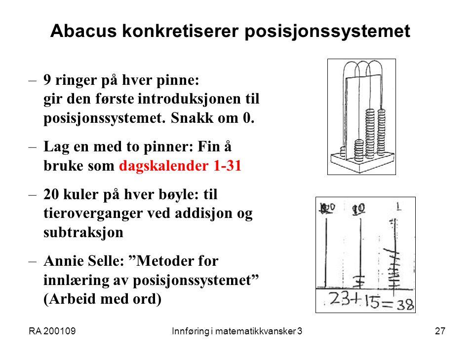 Abacus konkretiserer posisjonssystemet