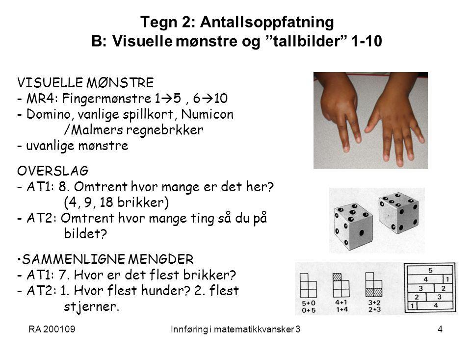 Tegn 2: Antallsoppfatning B: Visuelle mønstre og tallbilder 1-10