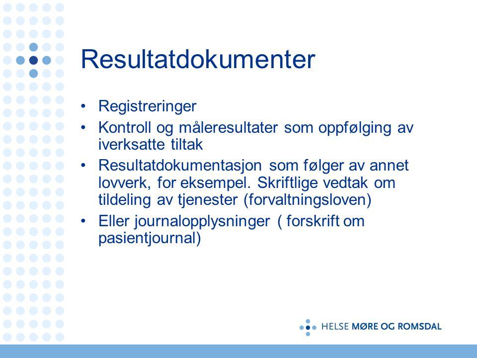 Resultatdokumenter Registreringer