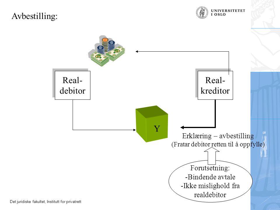 Avbestilling: Real- debitor Real- kreditor Y Erklæring – avbestilling