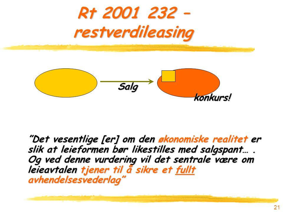 Rt 2001 232 – restverdileasing Salg konkurs!
