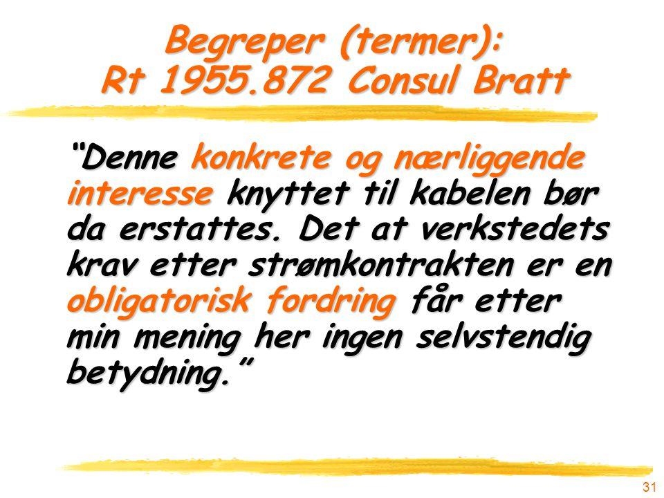 Begreper (termer): Rt 1955.872 Consul Bratt