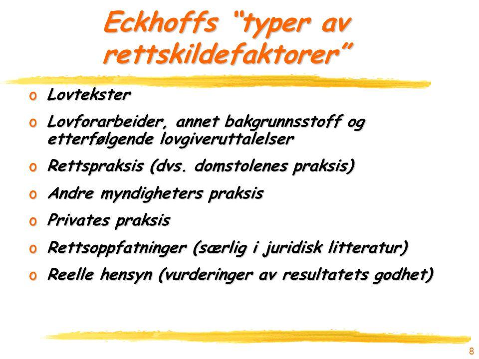 Eckhoffs typer av rettskildefaktorer