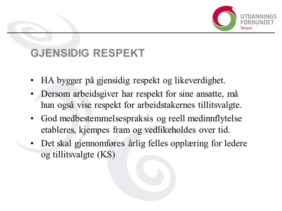 GJENSIDIG RESPEKT HA bygger på gjensidig respekt og likeverdighet.
