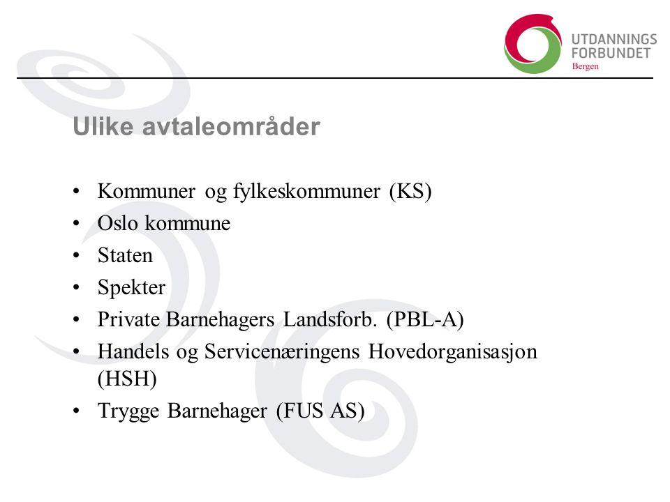 Ulike avtaleområder Kommuner og fylkeskommuner (KS) Oslo kommune