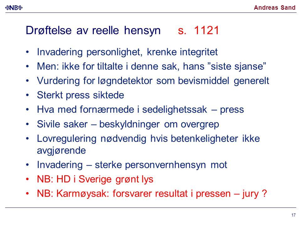 Drøftelse av reelle hensyn s. 1121