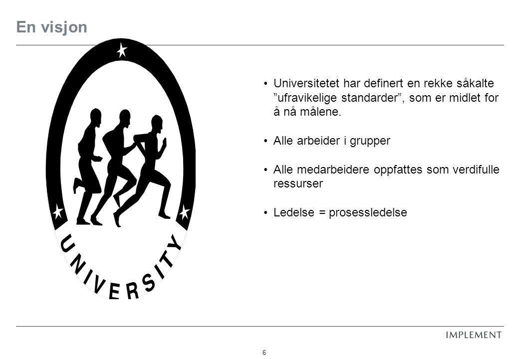 En visjon Universitetet har definert en rekke såkalte ufravikelige standarder , som er midlet for å nå målene.