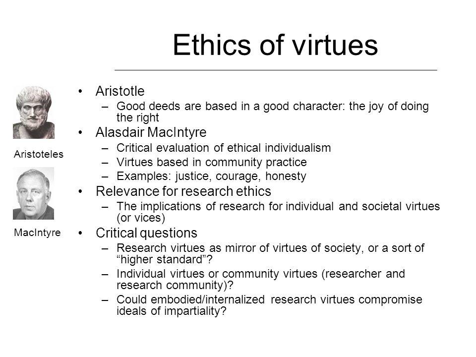 Ethics of virtues Aristotle Alasdair MacIntyre