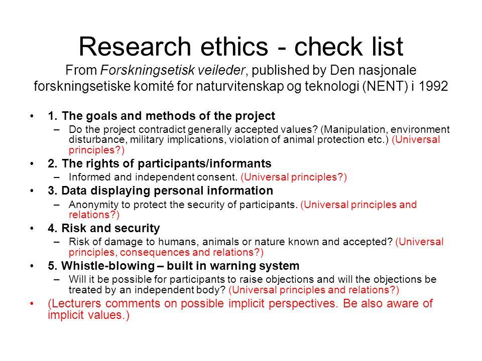 Research ethics - check list From Forskningsetisk veileder, published by Den nasjonale forskningsetiske komité for naturvitenskap og teknologi (NENT) i 1992