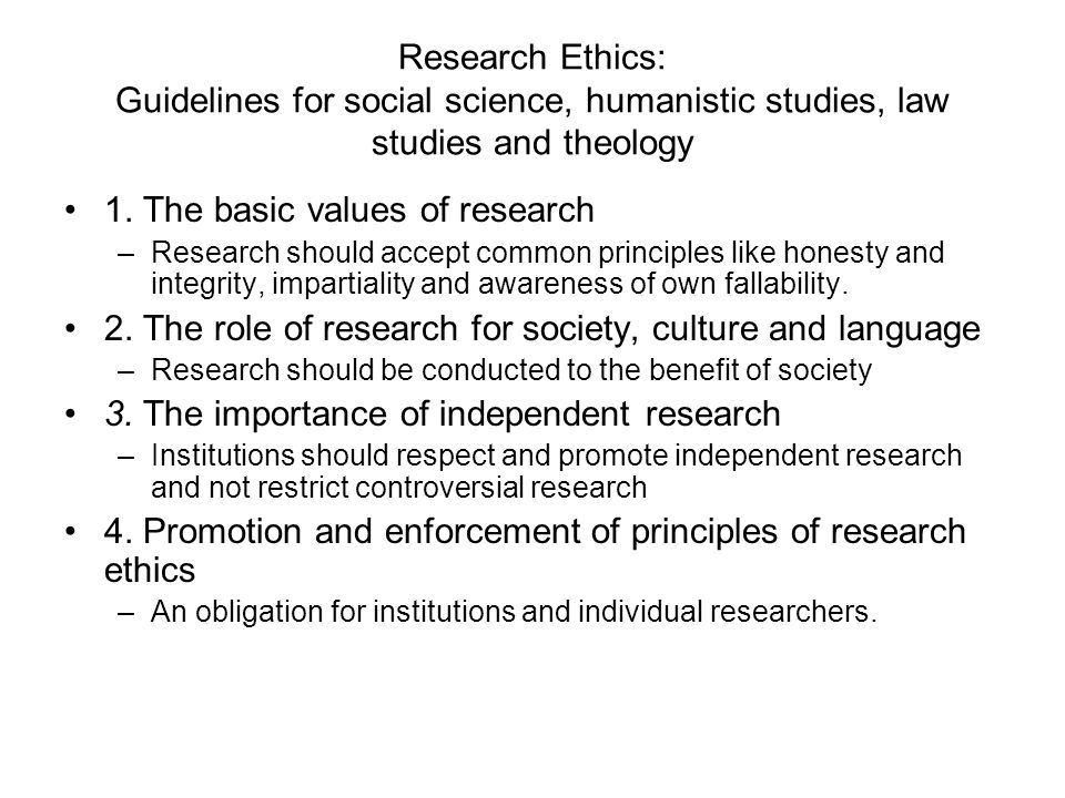 1. The basic values of research