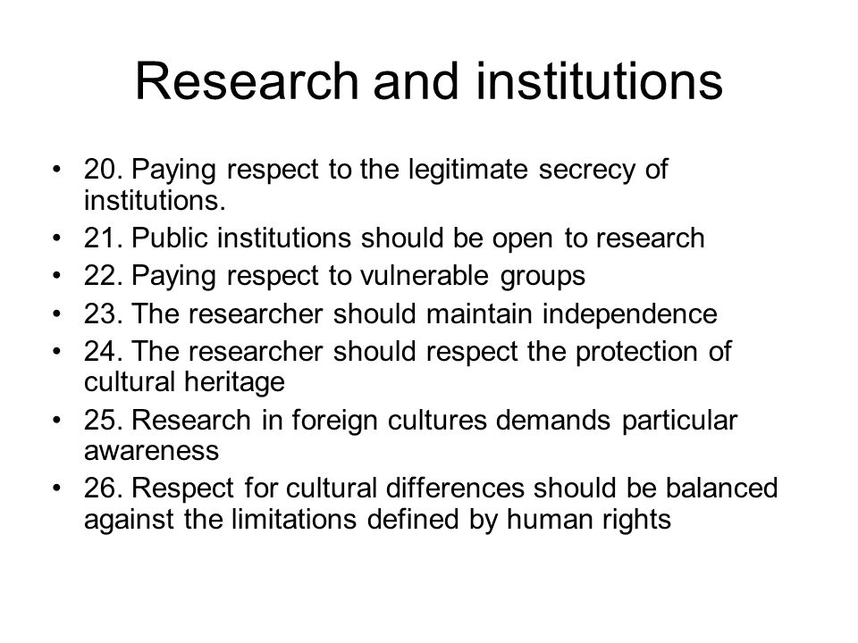 Research and institutions