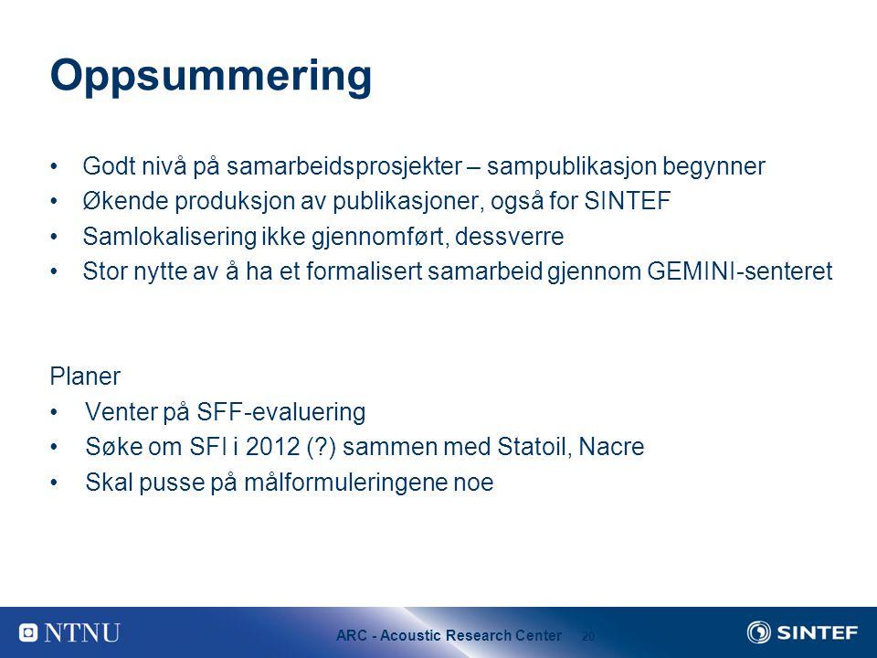 Oppsummering Godt nivå på samarbeidsprosjekter – sampublikasjon begynner. Økende produksjon av publikasjoner, også for SINTEF.