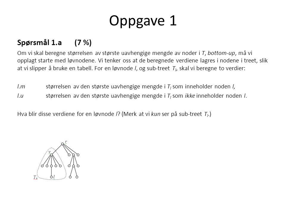 Oppgave 1 Spørsmål 1.a (7 %)