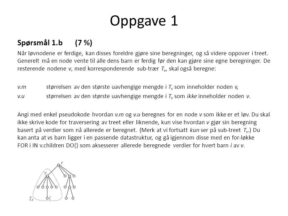 Oppgave 1 Spørsmål 1.b (7 %)