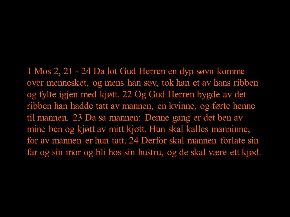 1 Mos 2, 21 - 24 Da lot Gud Herren en dyp søvn komme over mennesket, og mens han sov, tok han et av hans ribben og fylte igjen med kjøtt.
