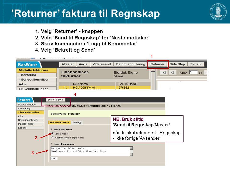 'Returner' faktura til Regnskap