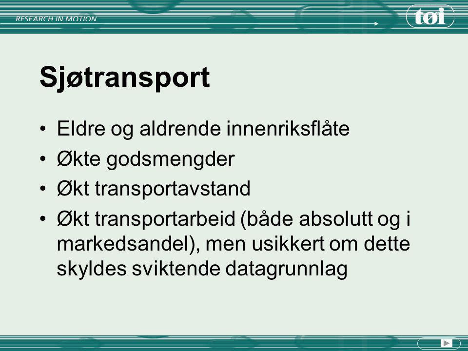 Sjøtransport Eldre og aldrende innenriksflåte Økte godsmengder