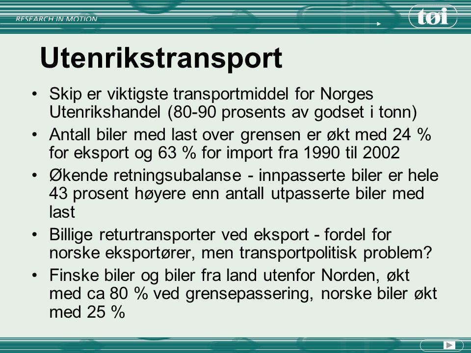 Utenrikstransport Skip er viktigste transportmiddel for Norges Utenrikshandel (80-90 prosents av godset i tonn)