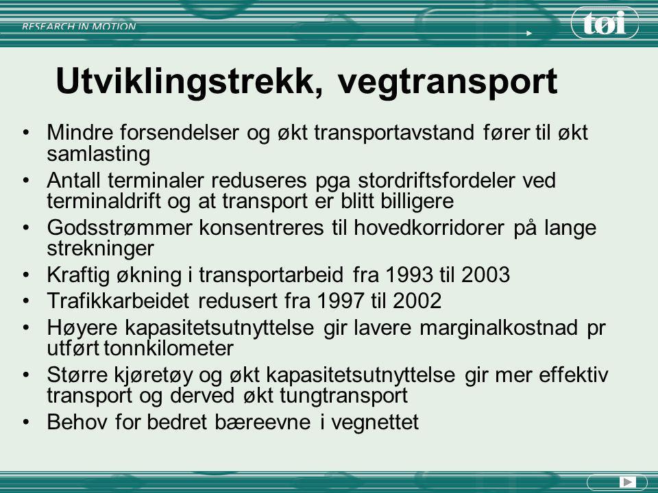 Utviklingstrekk, vegtransport