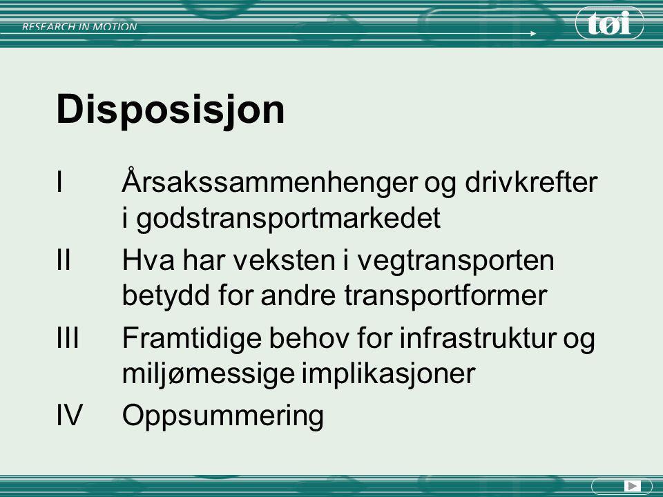 Disposisjon I Årsakssammenhenger og drivkrefter i godstransportmarkedet. II Hva har veksten i vegtransporten betydd for andre transportformer.